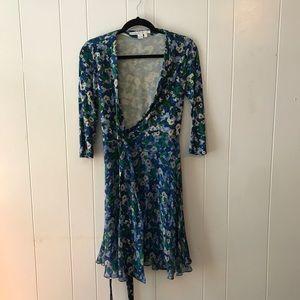 DVF Irina Dress with green and blue flower print